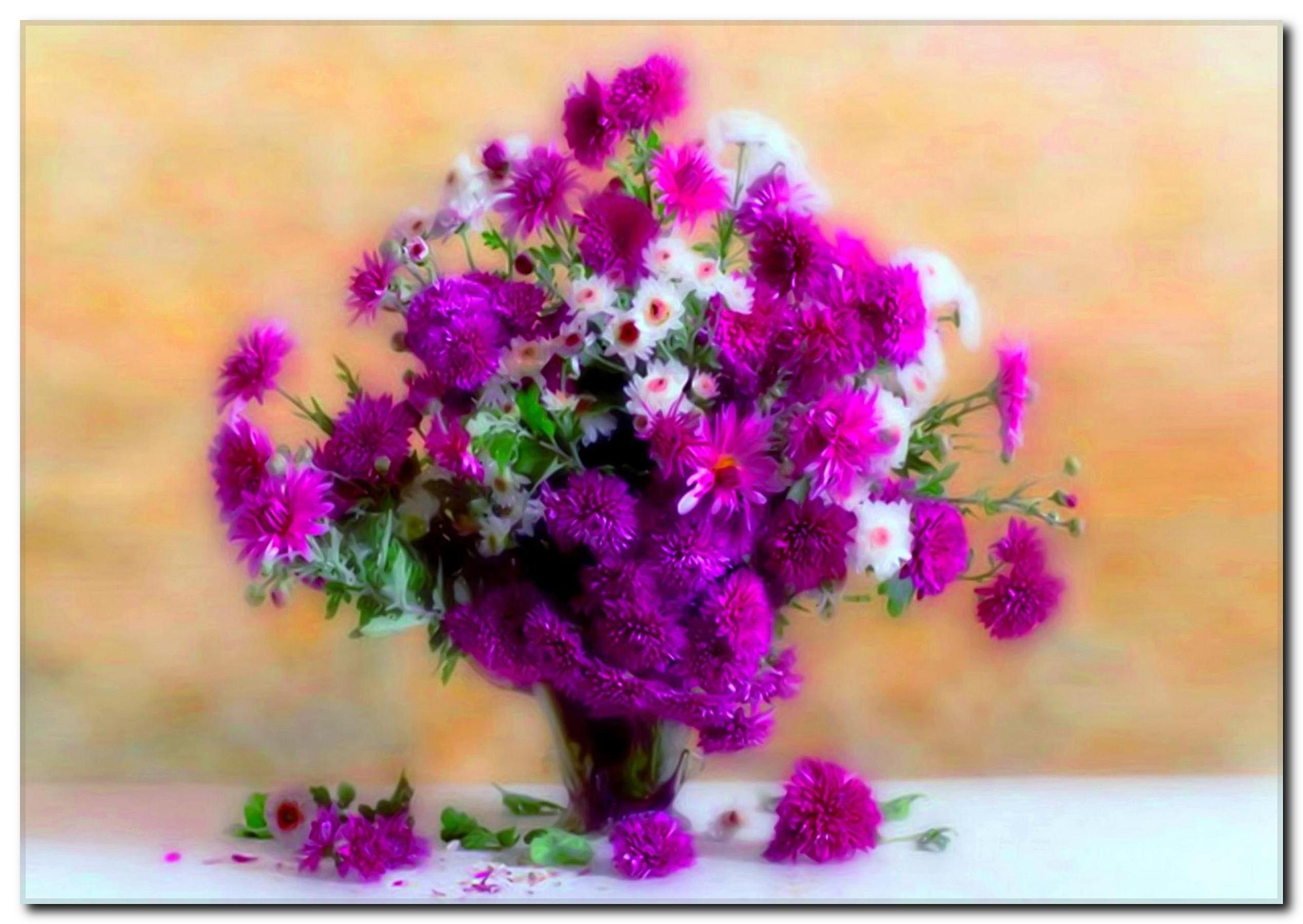 Çiçek ve Vazo Temalı Kanvas Tablo