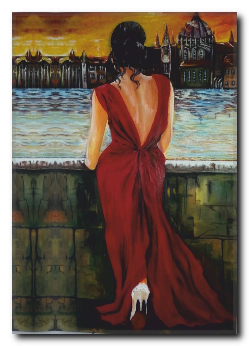 Kırmızı Elbiseli Kadın Kanvas Tablo