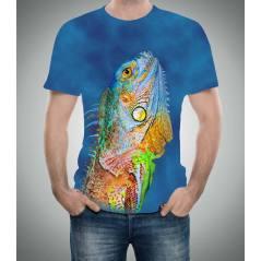 Bukalemun Desenli 3D Tişört