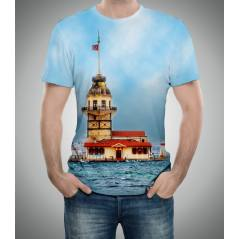 Kız Kulesi Mavi Desenli 3D Baskılı Tişört
