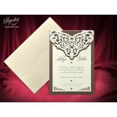 İnci Taş aksesuarlı, lazer kesimli evlilik kartı - Popular 2760