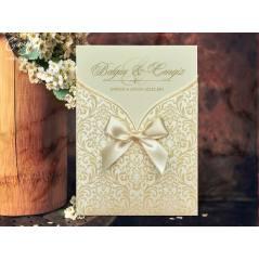 Aksesuar detaylı, kadife kaplı düğün kartı - Concept 5471