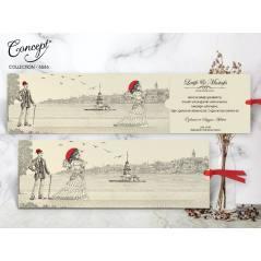 Eski İstanbul görselli düğün kartı - Concept 5486