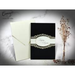 Kadife kaplı  düğün kartı - Concept 5556