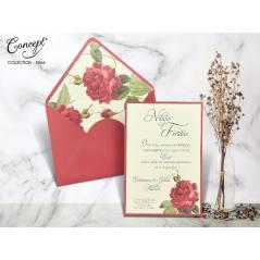Gül desenli düğün kartı - Concept 5566