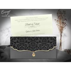 Taş ve kadife detaylı düğün kartı  - Concept 5567
