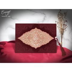Lazer kesim, kadife kaplı düğün kartı - Concept 5568