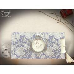 Çiçek desenli,püsküllü düğün kartı - Concept 5574