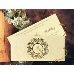Simli ip detaylı düğün kartı - Concept 5589