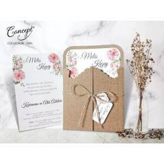 Kabe kapısı detaylı düğün kartı - Concept 5591