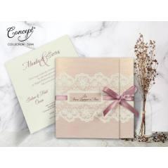 Kurdele detaylı düğün kartı - Concept 5594