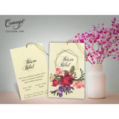 Çiçek desenli, püskül detaylı düğün kartı - Concept 5598