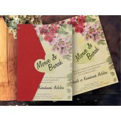 Çiçek desenli düğün kartı - Concept 5602