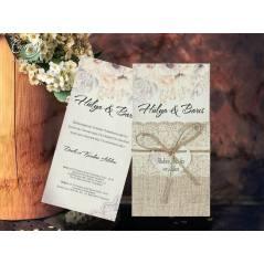 İsimlik ve hasır ip detaylı düğün kartı - Concept 5603