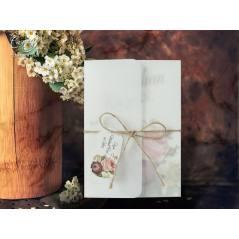Aydınger zarf detaylı, hasır ip ve isimlikli düğün kartı - Concept 5608