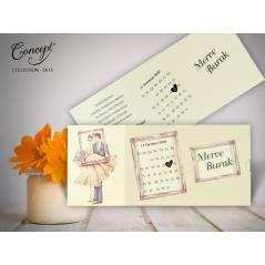 Takvim detaylı düğün kartı - Concept 5616