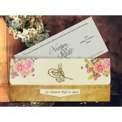 Tuğra desenli düğün kartı - Concept 5617
