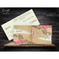 Katlama detaylı çiçekli düğün kartı - Concept 5622
