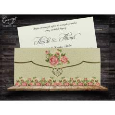 Çiçek desenli düğün kartı - Concept 5633