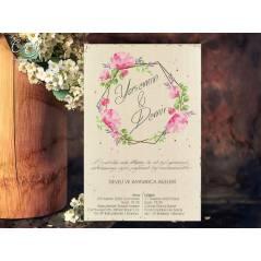 Çiçek desenli ekonomik düğün kartı - Concept 5638