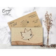 Yaprak desenli, takvim detaylı düğün kartı - Concept 5641