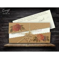Çiçek figürlü, hasır ip ve isimlik detaylı düğün kartı - Concept 5655