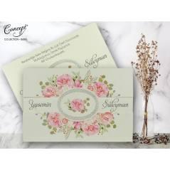 Çiçek desenli düğün kartı - Concept 5656