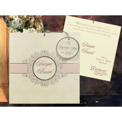 İsimlik detaylı, kabartmalı düğün kartı - Concept 5657