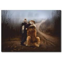 Çocuk ve Köpeğin Dostluğu Temalı Kanvas Tablo