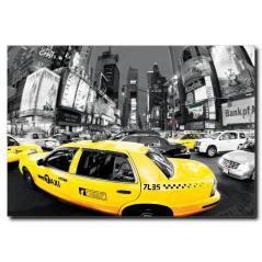Sarı Taksi Temalı Kanvas Tablo
