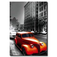 Turuncu Nostalji Araba Temalı Kanvas Tablo