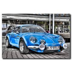 Mavi Nostalji Araba Temalı Kanvas Tablo