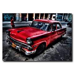 Kırmızı Nostalji Araba Temalı Kanvas Tablo