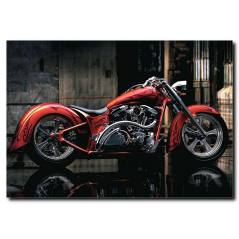 Kırmızı Motosiklet Temalı Kanvas Tablo