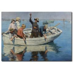 Kayık ve Balıkçı Temalı Kanvas Tablo