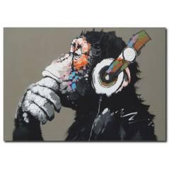 Müzik Dinleyen Maymun Kanvas Tablo