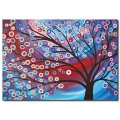 Renkli Ağaç Temalı Kanvas Tablo