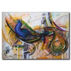 Mavi Kuş Temalı Yağlıboya Kanvas Tablo