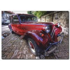 Kırmızı Nostaljik Araba Tablosu CC1013