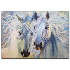 Beyaz Atlar Yağlı Boya Kanvas Tablo