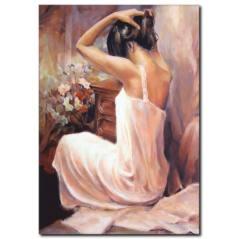 Saçını Toplayan Kadın Yağlı Boya Tablo