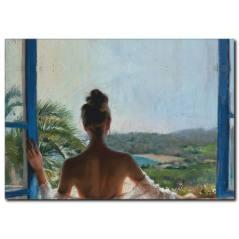 Pencere Önündeki Kadın Yağlı Boya Tablo