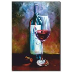 Şarap Şişesi Ve Kadeh Yağlı Boya Tablo