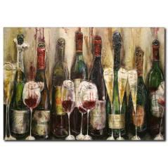 Yağlı Boya Kırmızı Şarap Şişeleri Kanvas Tablo