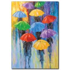 Renkli Şemsiyeler Yağlı Boya Tablo
