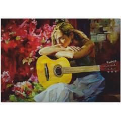 Gitar Çalan Kız Yağlı Boya Tablo