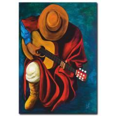 Gitar Çalan Şapkalı Adam Tablosu