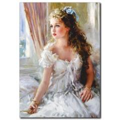 Beyaz Elbiseli Güzel Kadın Tablosu