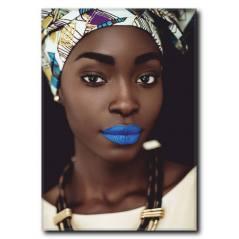 Mavi Rujlu Kadın Kanvas Tablo WM-1001