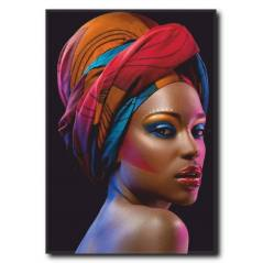 Renkli Siyahi Kadın Kanvas Tablo
